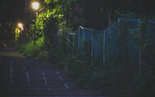 踏切の近くの線路沿いに咲いたアジサイに宿る地縛霊の画像